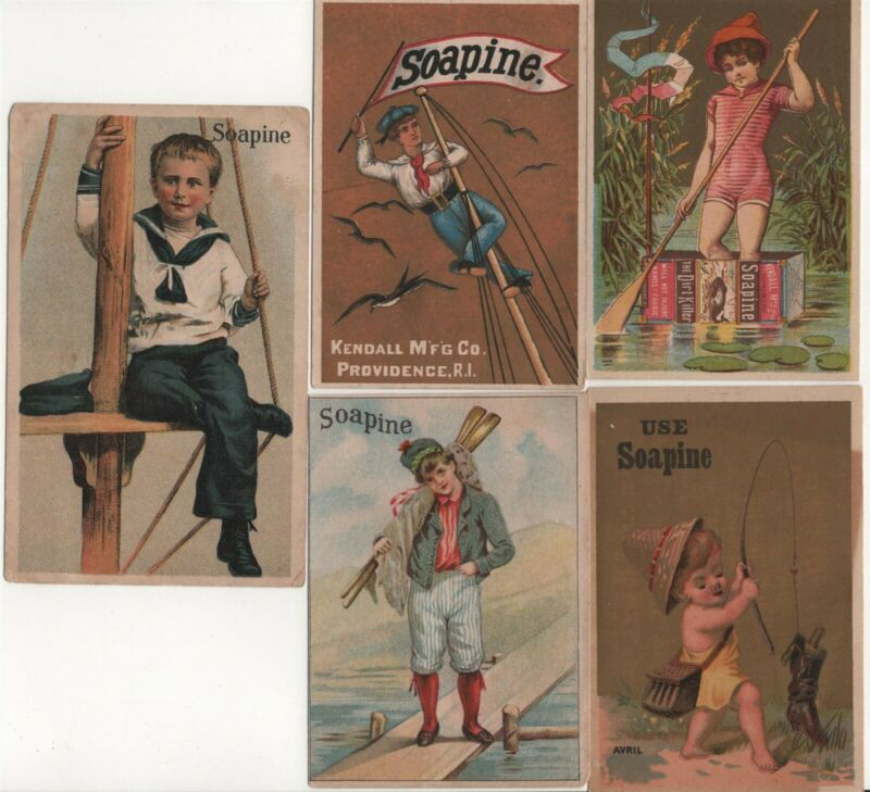 Soapine Soap Lot 5 Victorian Trade Card Antique Kendall Mfg Co Providence RI