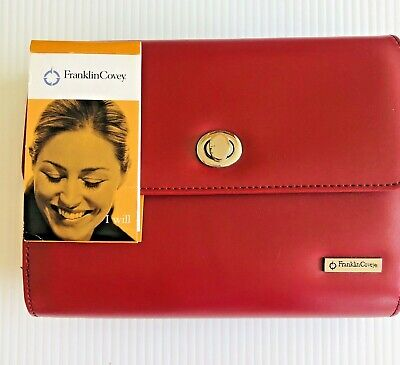 Franklin Covey Red Simulated Leather Planner Starter Set 6 Ring Zip Around