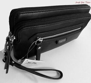 Coach-Daisy-Leather-Black-Double-Zip-Wallet-Wristlet-49397-NWT