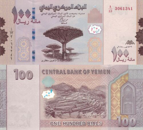 Yemen 100 Rials (2018) - Socotra Dragon Trees/Terraced Hillside/p-New UNC