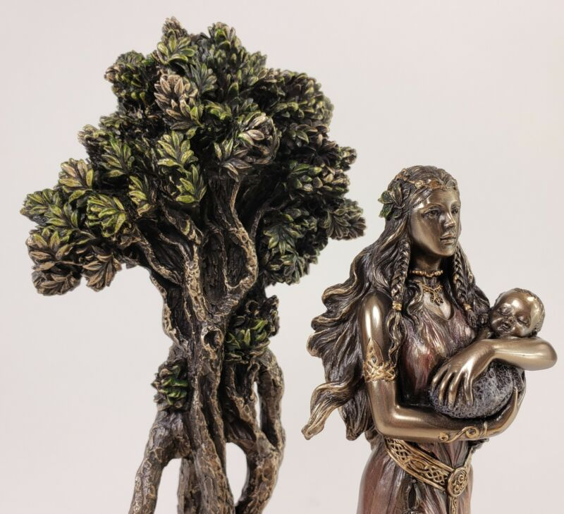 """11 1/2"""" Veronese Celtic Mother Goddess Danu W Baby By Tree Statue Bronze Color"""