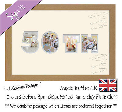 50th Birthday Golden Wedding Anniversary Guest Signing Word Photo Frame ()
