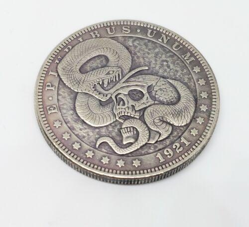 1921 Morgan Dollar Hobo Nickel Coin Snake Skull