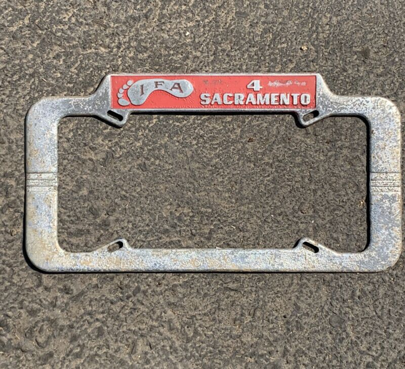 Vintage IFA International Footprint / Police SACRAMENTO CA License Plate Frame