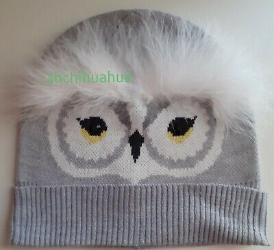 NEW Kate Spade Grey Owl Fluffy Beanie Hat One Size