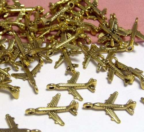 50 GOLD CHARMS-AIRPLANES-PLANES-TRAVEL-JET-EARRING DROPS-FINDINGS-JEWELRY MAKING