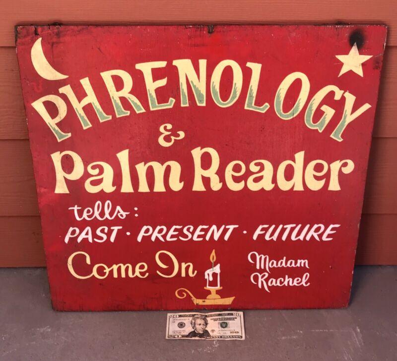 Antique Vintage Madam Rachel Phrenology Palm Reader Wooden Sign