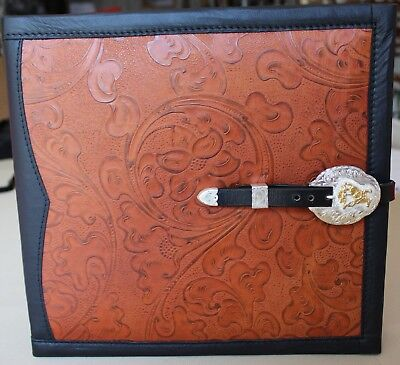 Reining Horse Buckle Chestnut Western Floral Cowhide Leather 2 3 Ring Binder