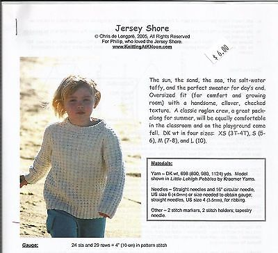 Jersey Shore Oversized Sweater Knitting Instruction Pattern KNOON Child's (Jersey Shore Kids)