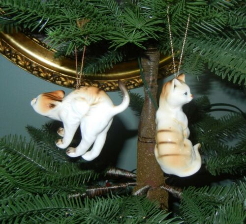 Two Vintage Tabby Cat Porcelain Christmas Ornaments