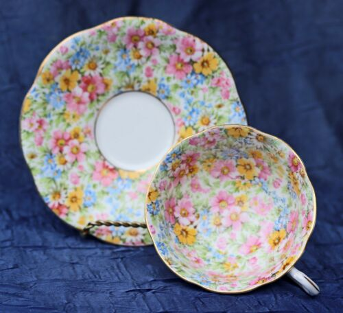ROSINA  CHINTZ FLORAL PINK AND BLUE  BONE CHINA TEA CUP & SAUCER ENGLAND