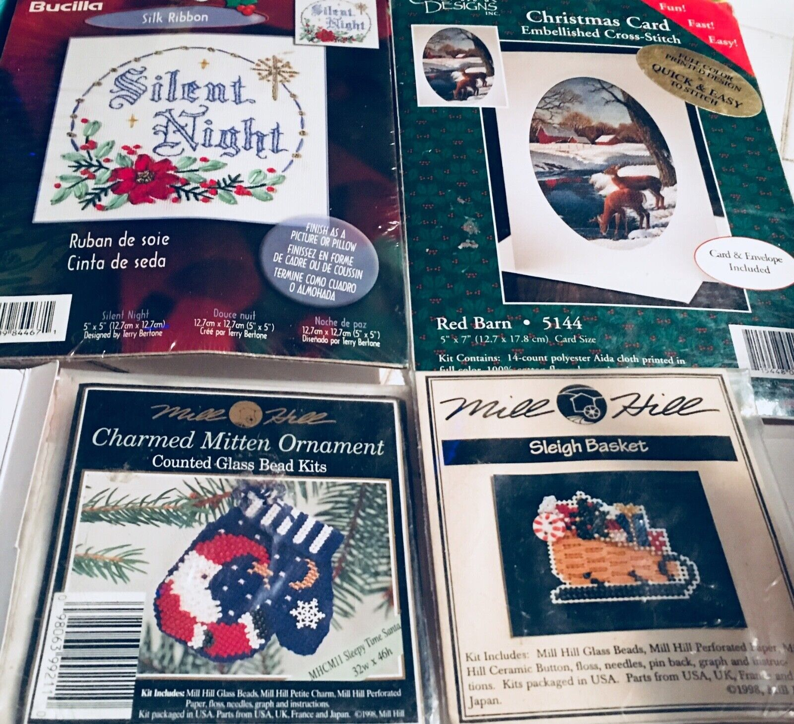 Six MILL HILL & Bucilla Holiday Stitch Bead Craft KITS Chris