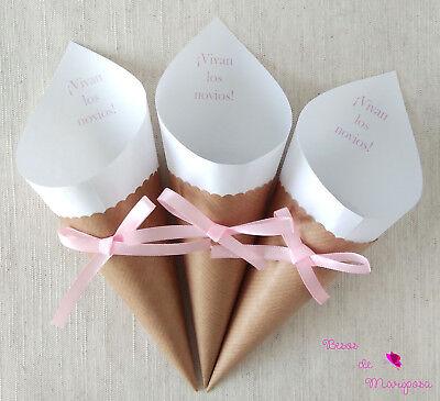 Conos arroz boda. Cono confeti boda. Cono petalos de rosa. 50 unidades