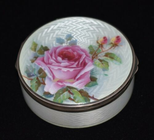 MAGNIFICENT!! Antique *935 SOLID SILVER/ENAMEL GUILLOCHE*VANITY Box XLARGE. WOW!