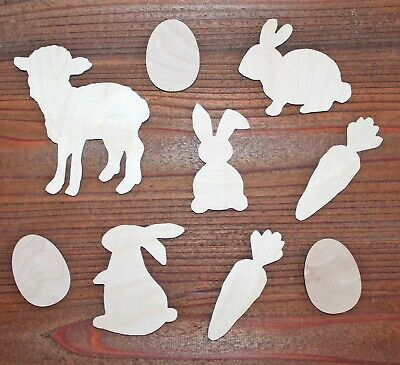 9Piece Easter Lamb Bunny Carrot Egg SET Unfinished Wood Cutout Shapes - Egg Crafts