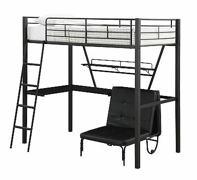 MODERN BLACK METAL TWIN LOFT BED & WORKSTATION DESK BEDROOM FURNITURE SET