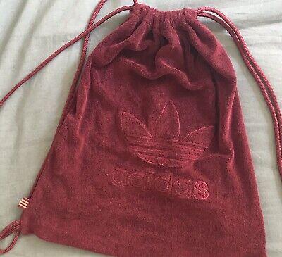adidas Maroon Velour Drawstring Gym Bag Rose Gold Zip NEW