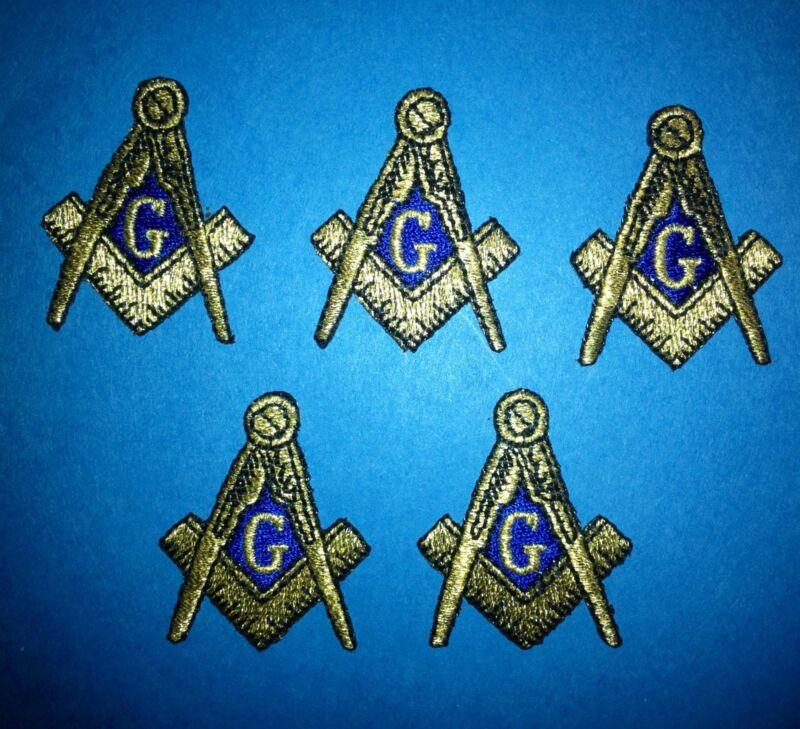 5 Lot Masonic Freemasons Square & Compass Iron On Hat White Glove Patches 312W