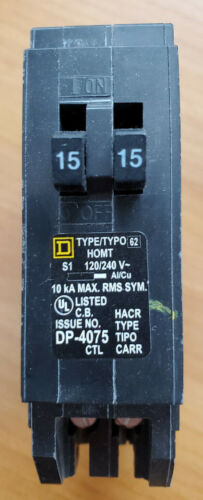NEW Square D HOMT1515  1-Pole 15 Amp Tandem 120/240VAC Snap In Circuit Breaker