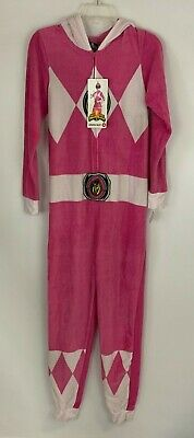 Women's Pink Power Ranger One-Piece Hooded Union Suit Pajamas Size XS