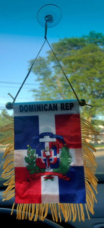 "Dominican Republic W Shield 4 X 6"" MINI BANNER FLAG CAR WINDOW MIRROR HANGING DR"