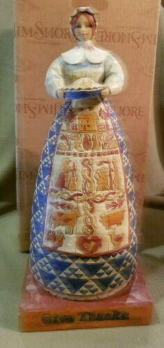 "Jim Shore Heartwood Creek  ""Give Thanks"" Pilgrim Woman w/Pie 2004 #117658"