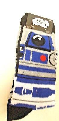 Star Wars R2d2 Socks  Mens Shoe Size 6 12  2 Pairs  New  Blue White Black Droid