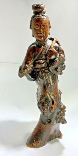 """Antique Large Chinese 19th Period Hand Carved Wood """"Woman"""" Statue"""