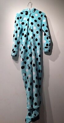 Justice Footie Pajamas Girls 14 Detachable Feet Hood Soft Fleece Blue Cheetah