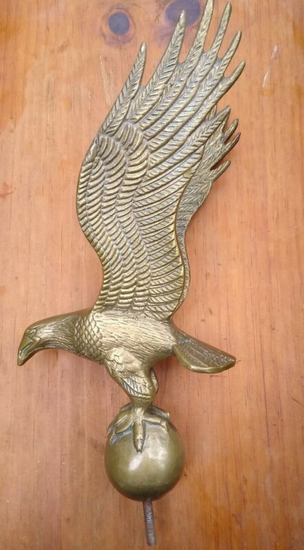 Lg Vintage Heavy Solid Brass American Eagle Flag Topper Finial
