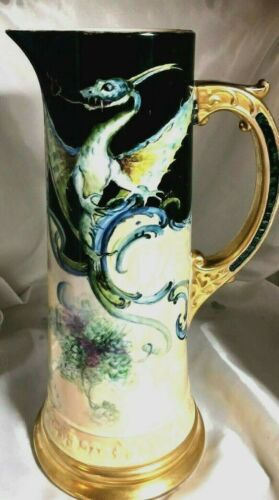 SUPERB HUGE CAC Belleek Hand Decorated Beautifully Done Dragon Tankard