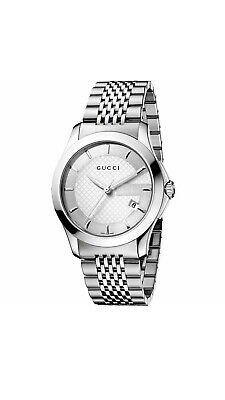 Gucci G-Timeless YA126401 Silver Dial Stainless Steel Swiss Quartz Watch