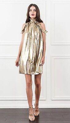 NWT Rachel Zoe Gold  Silk Blend Dress Size 4 - Zoe Gold