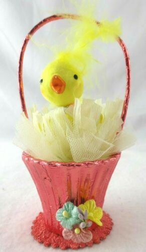 RARE Vintage Easter Spun Cotton Head Chick in Basket