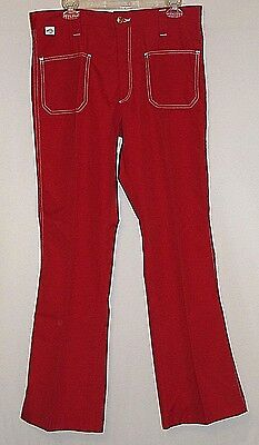 New Old Stock Vintage 1970's Mens RED Farah Pants Bell Bottom/Flares SZ 36 x 32