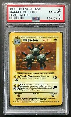 1999 Pokemon Game Magneton Holo PSA 8 Shadowless Base Set Unlimited 9 Card 9/102