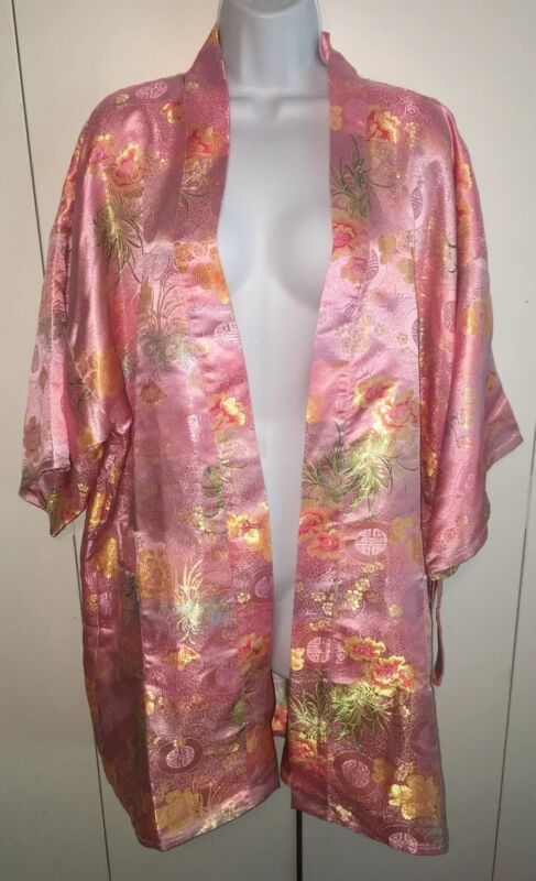 Vintage Solz Squirrel Pink Floral Satin Belted Kimono Robe One Size MINT