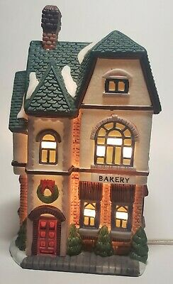 Vintage Christmas Village Bakery Bake Shop 1994 Lighted Light