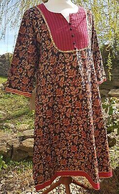 Vintage Indian cotton block print tunic  dress