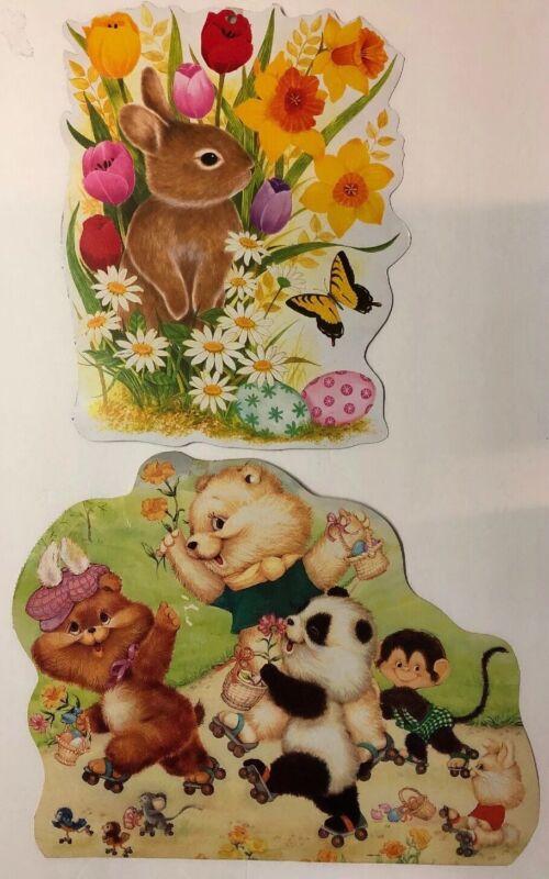 2 Vintage EUREKA Easter Bunny  Bears Die-cut Cardboard Decoration