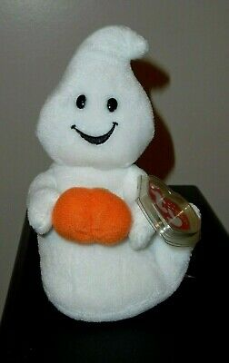 Ty Beanie Baby - SPOOKY the Ghost with Pumpkin (7 Inch) MINT with MINT TAGS