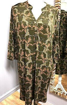 Tracy Negoshian Dress - Size Large - Olive Green Animal (Large Animal Prints)