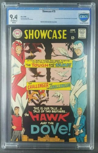 Showcase #75 1968 CBCS not CGC 9.4 NM OW/W 1st App Hawk and Dove
