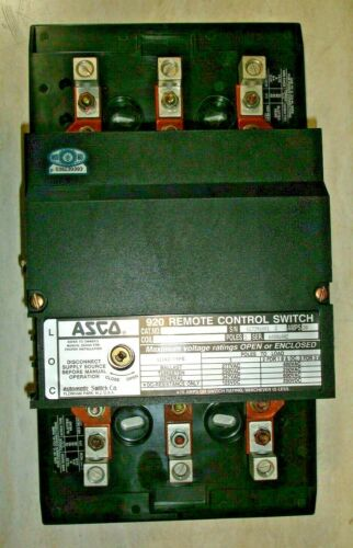 New Asco 92033091C REMOTE CONTROL SWITCH LIGHTING CONTACTOR 3 POLE 30 AMP