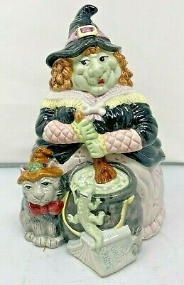 RARE Fitz & Floyd Halloween Witch Rare Cookie Jar The Ghoul Gourme - Large Read