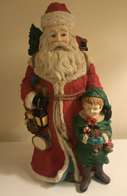 "Santa Clause And Elf Clay Table Top Decoration 14.5"" Tall"