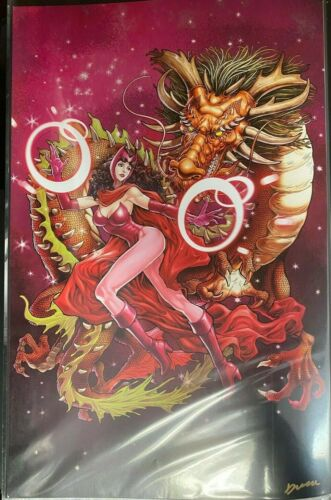 SCARLET WITCH WITH DRAGON DAXIONG SIGNED PRINT 11 x 17 #oa-392