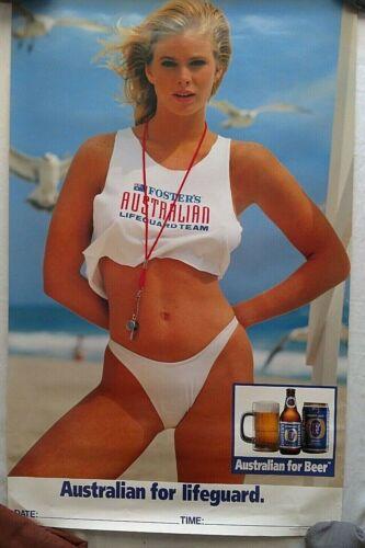 Vintage Beer Poster Fosters Australian For Lifeguard Team Sexy Bikini Tank 24x38