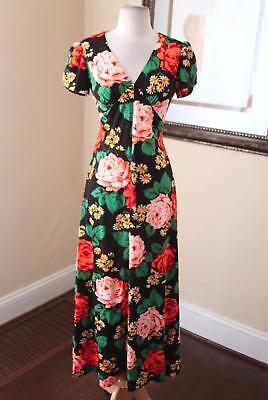 Vtg 70s Black Floral V-Neck Cap Sleeve Maxi Dress Size 9 - S / M Retro Bohemian 70s Black Maxi Dress