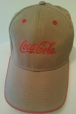 Coca Cola Strapback Hat Red Tan Logo